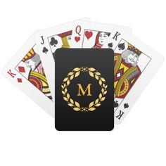 Ornate Golden Leaved Roman Wreath Monogram - Black Card Deck  An ornate monogram of golden leaves - roman, art deco style - with your personal monogram inside! Elegant and classy.