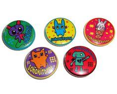 Set of 5 SoHoKiTtEn 1 inch pins bunny kitty devil by sohokitten, $6.00
