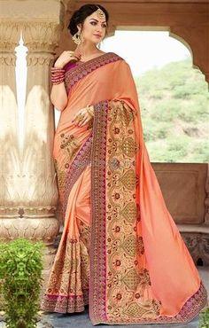 250626854a Charming Light Orange Art Silk Designer Saree For Mehendi Party Bollywood  Saree, Anarkali Suits,