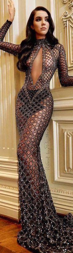 Regilla ⚜ Charbel Zoe Couture sheer plunge cut out dress gown silver metallic #Unique_Womens_Fashion