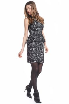 Bonded Lace Alessandra Peplum Dress