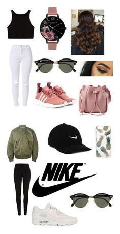 """Instagram Baddie 💁🏽"" by shay-mcgill ❤ liked on Polyvore featuring Olivia Burton, adidas Originals, Ray-Ban, NIKE, River Island and Sonix"
