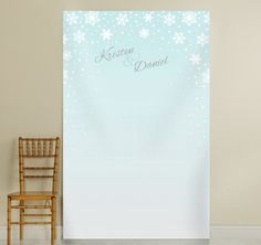 Complete your winter wonderland or Christmas theme wedding reception with this Winter Photo Backdrop.  Features a blue and white background depicting fall snow.  Can be used as a photo booth backdrop for photo ops for your guests or simply as a decor piece.