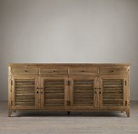Shutter Low Cabinet by Restoration Hardware Bench Furniture, Home Furniture, Furniture Design, Industrial Furniture, Furniture Projects, Industrial Design, Refurbished Bookshelf, French Country Dining, Low Cabinet