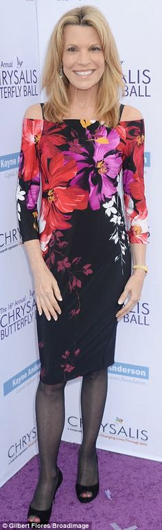 In bloom: Wheel Of Fortune star Vanna white stunned in a floral dress, adding tights and peep toe heels Vanna White, Purple Carpet, Wheel Of Fortune, Opaque Tights, Halle Berry, Peep Toe Heels, Sequin Dress, Personality, Duster Coat