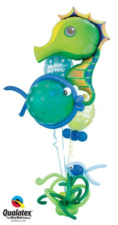 For an under the sea party, gor for this delicate bouquet with the Super Sea Horse Microfoil. #qualatex #balloon #underthesea