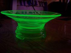 Uranium Glass Bowl & Pedestal