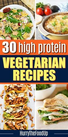 Find amazing ideas for breakfast, lunch, dinner and more with this list of 30 high protein vegetarian recipes. These delicious recipes are all quick and easy, and you'll be able to have a meal on the table in 30 minutes or less! Enjoy these quick meals with family or friends, because even though they are vegetarian, they are packed with protein and flavor that everyone will enjoy! #mealplan #recipes #vegetarian #meatless #highprotein #dinner #breakfast High Protein Vegetarian Recipes, Vegetarian Recipes Dinner, Veggie Recipes, Delicious Recipes, Dinner Recipes, Healthy Meals, Yummy Food, 5 Minute Meals, Quick Meals