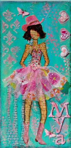 """Mya"" Texas girl. Mixed media on 6x12 canvas. Custom order - SOLD By Bette Brody"