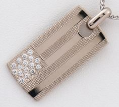 De Beers diamond plate pendant necklace 18-karat gold white gold (2200000216120)