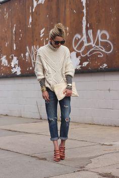 Sweater: Zara. Turtleneck: J.Crew. Denim: Curent/Elliott. Shoes: J.Crew (old). Clutch: Mark and Graham. Sunglasses: Karen Walker 'Super Duper'. Jewelry: Michele, David Yurman, Stella and Dot, Tory Burch.