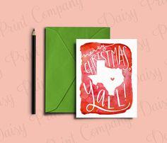 "Items similar to Texas Christmas Card - ""Merry Christmas, Y'all!"" on Etsy Merry Christmas Images Free, Merry Christmas Vector, Merry Christmas Banner, Merry Christmas Friends, Merry Christmas Greetings, Christmas Gift Tags, Christmas Greeting Cards, Texas, Free Christmas Printables"