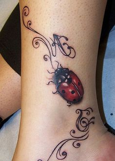 Amazing Red Ladybug Tattoo for Hands Women