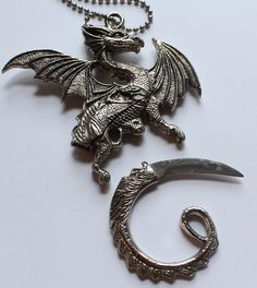 Silver Tone Dragon Hidden Knife Necklace by paststore on Etsy
