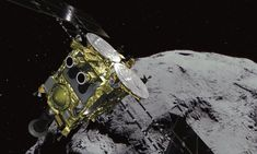 The spacecraft on desolate asteroid Ryugu, some 300 million km from Earth, is on a mission of collecting samples in hopes of finding clues to the origin of the solar system. Touch Down, Japan Time, Bottom Of The Ocean, Planetary Science, Our Solar System, Astrophysics, Space Exploration, Spacecraft