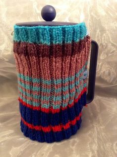 Large stripy knitted Cafetiere cosy  £8.00 Cosy, Mugs, Tableware, Handmade, Dinnerware, Cups, Tumbler, Dishes, Mug