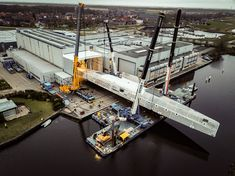 Royal Huisman turned its largest hull ever. Upon her delivery in 2020 this / contemporary schooner will be the world's largest aluminium sailing yacht. See movie at. Monaco Yacht Show, Marine Engineering, See Movie, Industrial Revolution, Next Door, Heavy Equipment, Worlds Largest, Sailing, Construction