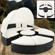 SONNENINSEL RATTAN Lounge Ø 230cm Gartenmöbel Sitzgruppe Sonnenliege Liege HG