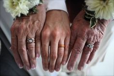 Rachael wearing her Touch Wood Ring on her wedding day with her Mom and Grandma showing off their wedding rings too.  I love this photograph!!