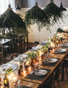 Rustic tables and hanging greenery. #gardenwedding