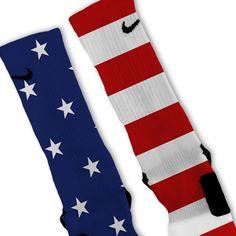 All American USA Flag Patriotic Custom Nike Elite Socks