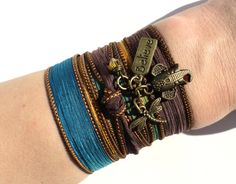 Bohemian Silk Wrap Bracelet Ganesha Believe Dragonfly Yoga Jewelry Sacred Elephant Unique Gift For Her or Him Under 30 Item Y4. $29.95, via Etsy.