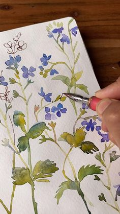 Watercolor Painting Techniques, Pen And Watercolor, Watercolour Tutorials, Watercolor Flowers, Watercolor Paintings, Watercolor Art Lessons, Painting Flowers, Watercolor Pencils, Watercolours