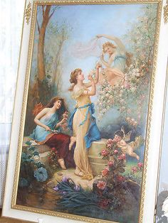 HUGE-Oil-Painting-VICTORIAN-Ladies-Framed-Baroque-Style-after-Hans-Zatzka