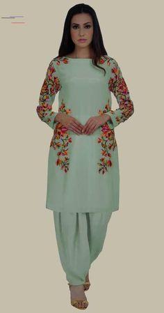 Sage Green Magnolia Embroidered Pure Crepe Dhoti Salwar Suit Modern Indian salware suits CLICK Visit link to see more Modern Indian salwar CLICK VISIT link for more info Neck Designs For Suits, Back Neck Designs, Dress Neck Designs, Blouse Designs, Latest Embroidery Designs, Embroidery Suits Design, Hand Embroidery, Designer Salwar Kameez, Designer Dress For Men