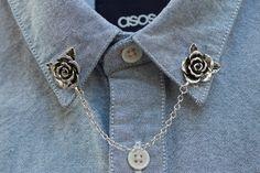 Collare rosa catena per vivacizzare il vostro collo. Si attacca con un pin sul retro di ogni rosa. Le rose sono circa 3/4 di pollice largo e la