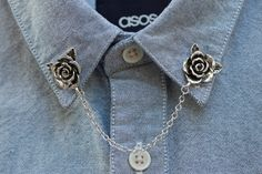 Rose Blume Kragen Silberkette / Kragen Clip