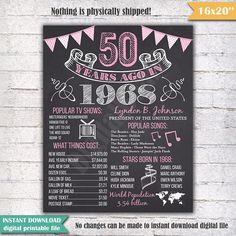 1968 - 50th Birthday Chalkboard Sign Poster - INSTANT DOWNLOAD - Our chalkboard birthday sign is filled with facts, events, and fun tidbits from 1968. Its a super fun keepsake and makes a truly special gift or party decoration. Simply print and use as is, or put in a frame. Please note