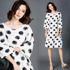 New Arrival Summer Retro Dot Batwing Sleeve Round Collar Fold Loose Dress  ( 9.50) http d9d49fc30e28