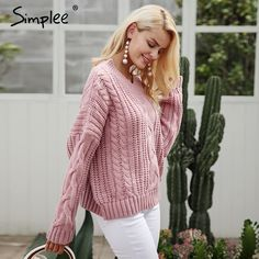 Simplee knitting pullover Autumn winter long sleeve 2017 sweater women pull femme streetwear soft jumper  Price: 23.44 USD