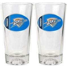 NBA Oklahoma City Thunder Two Piece Pint Ale Glass Set with Basketball Bottom - Oval Logo by Great American Products. $24.00. An Officially Licensed 60oz Glass Pitcher.