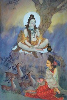 Parvati worshipping Lord Shiva in creative art painting Shiva Shambo, Shiva Yoga, Shiva Parvati Images, Shiva Statue, Shiva Art, Krishna Art, Hindu Art, Radhe Krishna, Indian Gods