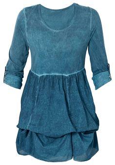Typ , Shirt, |Material , Viskose, Baumwolle, |Materialzusammensetzung , Oberteil aus Jersey: 95% Viskose, 5% Elasthan. Unterteil aus Blusenstoff: 100% Baumwolle., |Ausschnitt , Rundhals-Ausschnitt, |Gesamtlänge , Länge ca. 90 cm, |Ärmellänge , Langarm, | ...