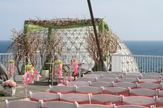 Rooftop Ceremony. Green and Pink themed wedding from Patricia and Denis' wedding at Atlantis, in Toronto.