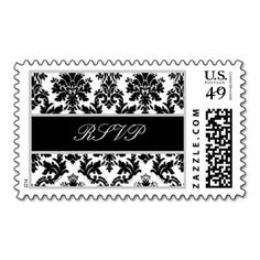 Black White Silver Ornate Curlicue Damask RSVP Postage #wedding #stamps #love #marriage #romance #bride #groom #jaclinart #love #postage #black #white #silver #ornate #curlicue #damask #rsvp