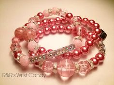 Rhinestone Bar Pink Beaded Bracelet Set by RandRsWristCandy, $9.00