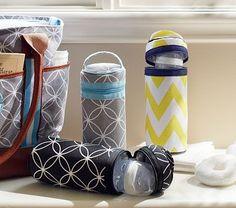 Bottle bags to keep bottles warm. Pottery Barn Kids, strikes again.