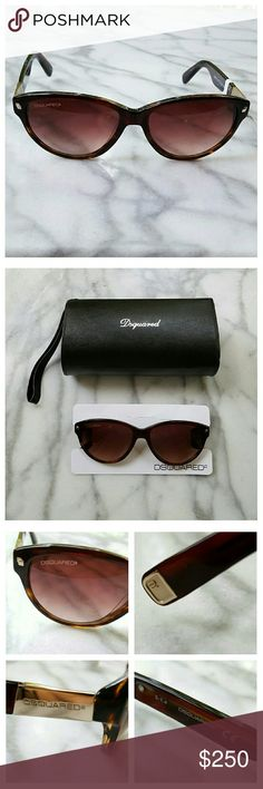 Dsquared DQ0147 Sunglasses Dark brown tortoiseshell semi-cateye oval sunglasses with brown gradient lenses. Gold tone hardware with Dsquared logo. Lens width 57mm, bridge width 16mm, earpiece length 140mm. Soft zip case and cleaning cloth included. 100% UV protection. DSQUARED Accessories Sunglasses