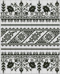 Cross Stitch Borders, Cross Stitch Designs, Cross Stitching, Cross Stitch Patterns, Fair Isle Knitting Patterns, Knitting Charts, Knitting Stitches, Blackwork Embroidery, Embroidery Motifs