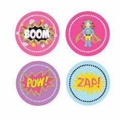 Super Hero Girl Birthday Decorative Mini Stickers | Party Supplies | Ella Gent