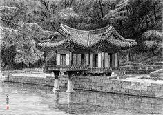 [김영택 화백의 세계건축문화재 펜화 기행] 창덕궁 부용정 - 중앙일보 뉴스 Ink Pen Drawings, Drawing Sketches, Korean Art, Asian Art, Hand Silhouette, Japanese Temple, Background Drawing, Perspective Drawing, Chinese Garden