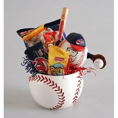Make someones day with an All-Star gift basket. Food basket comes in a baseball planter or if you can find a bowl/cup. It can double as a chip bowl at your next major sporting event. All-Star gift basket is perfect for any sports fan. Gift Basket includes Doritos, Peanuts, 100 Grand bar, Snickers, and more. Idea from overstock.com