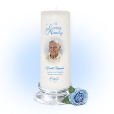 3x9 Pillar Candles : Simple Custom Memorial Pillar Photo Candle White, Unscented. Stand, optional