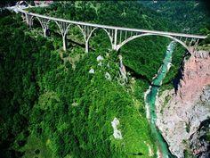 Bridge of The Tara River - Žabljak Montenegro Montenegro, One Photo, Country Information, Hiking Tours, Countries Around The World, Green Mountain, Our Lady, Rafting, Garden Bridge