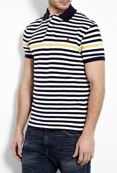 Navy White Yellow Stripe Polo Shirt by Polo Ralph Lauren