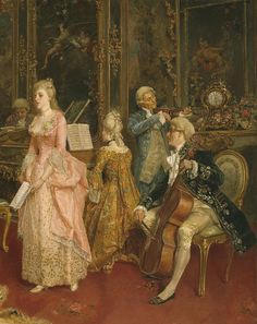 "detail from ""The Concert"" by Ettore Simonetti (Italian, 1857-1909)"